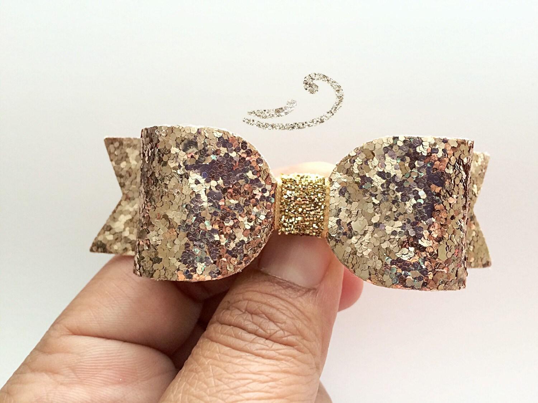 rose gold glitter hair bow light gold by meghanandjulie