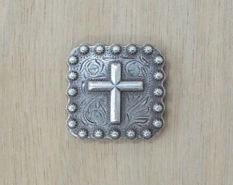 """12B Square Cross Silver Conchos 1 3/8"""" Conchos 29200"""