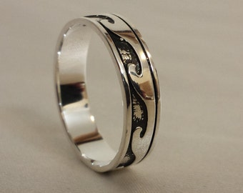 925 Sterling Silver 4.5 mm Wave ring. Oxidized Silver Band, Ocean Beach Wave, Mens Wedding Ring