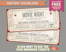 Movie Night Invitation with FREE Admission Tickets! Movie Night Party - Movie Night Birthday - Movie Ticket - Editable PDF file