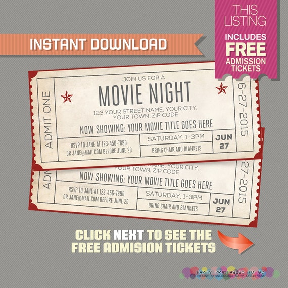 Movie night invitation with free admission tickets movie for Fake movie ticket template
