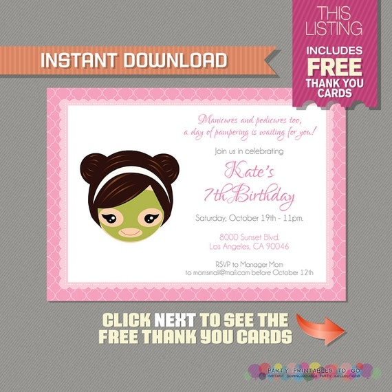 Spa Party Invitation with FREE Thank you Card Spa Birthday Party