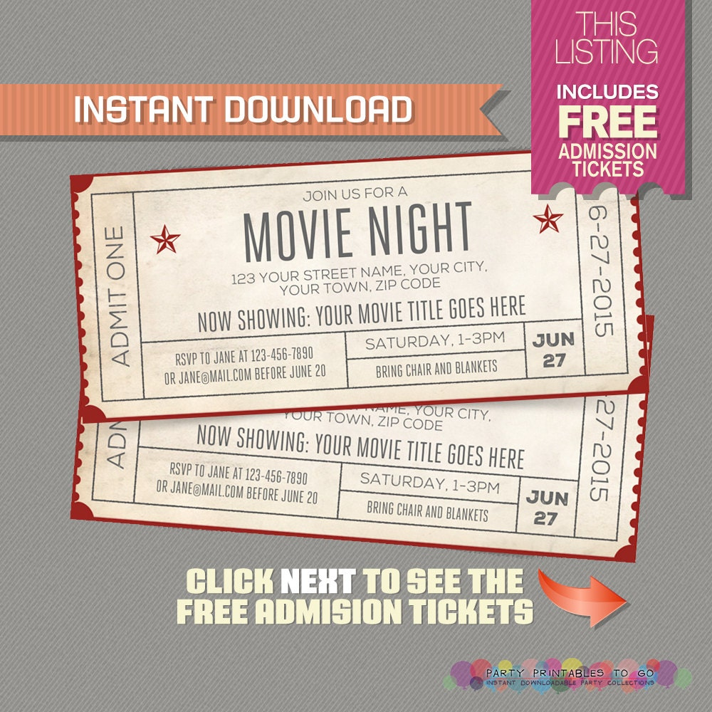 Movie night invitation with free admission tickets movie for Editable ticket template free