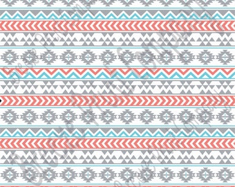 Gray coral aqua and white tribal pattern craft  vinyl sheet - HTV or Adhesive Vinyl -  Aztec Peruvian pattern grey HTV903