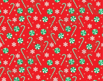 Red and green candy cane and snowflake craft  vinyl sheet - HTV or Adhesive Vinyl -  winter Christmas pattern HTV1705