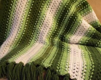 "Vintage Afghan Green White Tassle Fringe Blanket VTG acrylic 66"" x 37"""