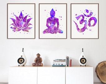 Set of 3 Prints, Lotus, Buddha, Om Symbol, Yoga Studio Decor, Yoga Wall Art, Meditation Wall Art, Buddha Wall Art, Buddhist Decor, Zen Art