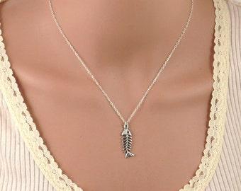 Silver fish bone necklace , fish-bone pendant , gold fish bone necklace , gold filled fish bone necklace , fish pendant , beach necklace