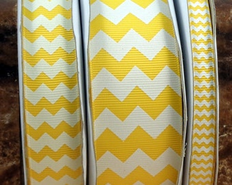 "2 Yards 3/8"", 7/8"" or 1.5"" Yellow Chevron Print Grosgrain Ribbon - US Designer"