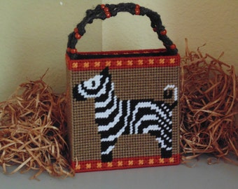 Zebra Tote Bag in Needlepoint with Macrame Beaded Handle