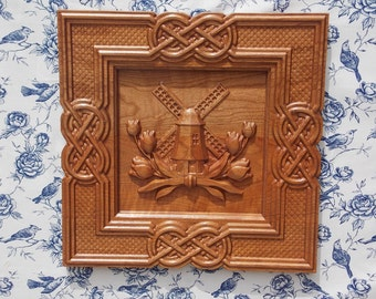 Windmill Wood, Wood Carving Art, Wooden Tulips, Celtic Knot Frame Wall Hanging, WOOD WALL ART, Holland, Netherlands, Tulips