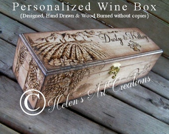 Wedding Wine Box, Personalized Wine Box, Engraved Wine Box, Rustic Wedding Gift, Anniversary, Custom Keepsake Box, Time Capsule, Honeymoon
