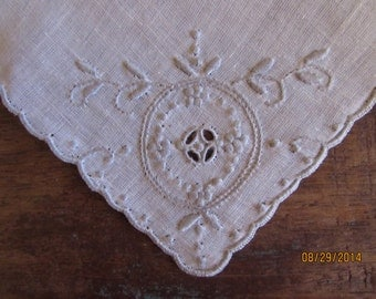 Vintage Hanky - Handkerchief Hankie  grey and white handkerchief