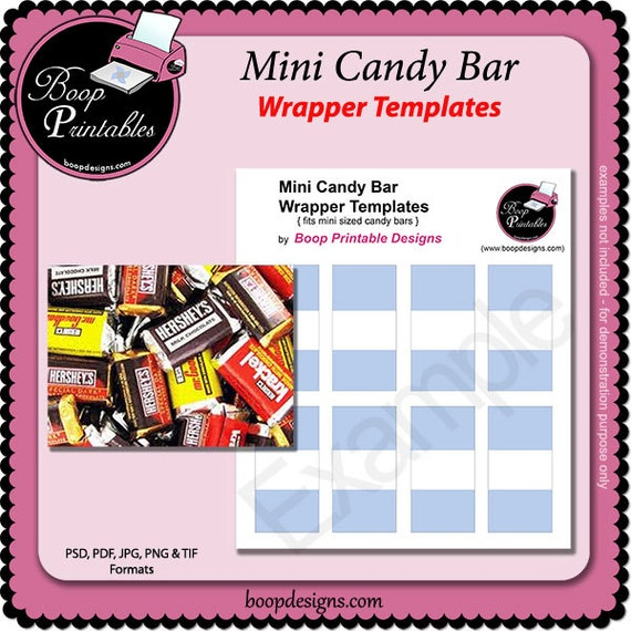 Mini sized candy bar wrapper gift or party favor template by for Free mini candy bar wrapper template