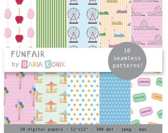 "Funfair Digital Paper Pack-ferris wheels, carousels, tickets, balloons, tickets, rollercoasters, 12"" x 12"", eps, jpeg"