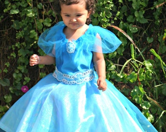 Extravagant Princess Cinderella Ariel Belle You pick the color Costume Girls Ball Gown Princess Blue Lined with Tutu Petticoat Sz 3t- 8