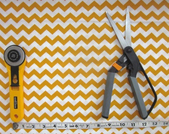 Gold and White Chevron Fabric -  1 yard - Quilt Fabric - Sale - Craft Fabric