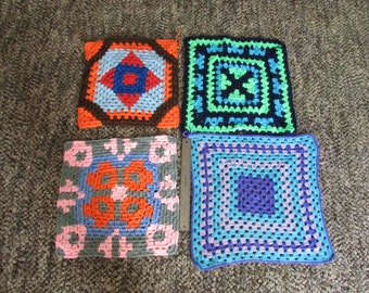 Vintage crocheted large  Granny Squares  lot of 4 pillow tops afghan clothing