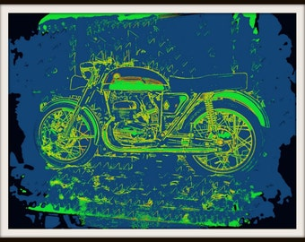 Gift for Groom, Best Man. Man Cave Art. for Grease Monkey Cafe Racer Art.  Garage Decor. Moto. Cobalt Blue Lime Green Black. 8x10 Art Print
