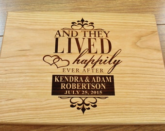 Personalized Cutting Board And They Lived Happily Ever After Wedding Present Anniversary Gift Bridal Shower Gift Engagement