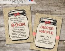 INSTANT DOWNLOAD • Mason Jar Baby-Q • Rustic Baby-Q • Baby-Q Diaper Raffle Card • Baby-Q Book Request Card • Mason Jar Book Request Card