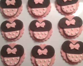 12 Mini Mouse fondant cupcake Toppers.