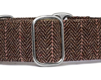 "Noddy & Sweets Adjustable Martingale Collar [1"", 1.5"", 2"" Herringbone Tweed BB]"