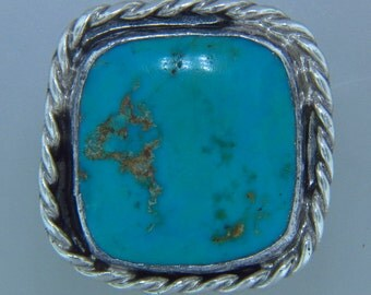 Sterling Silver Turquoise Ring with Rope Size 10.5