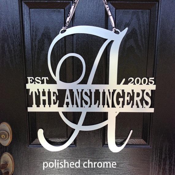 metal monogram door hanger  monogrammed metal wreath  sign  wedding gift  established monogram