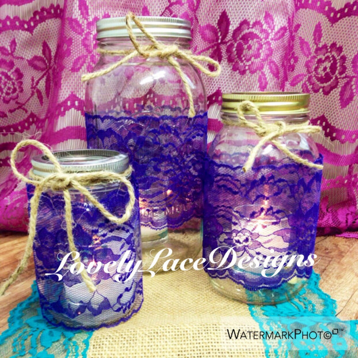 Purple lace trim mason jars lace 4 inch wide 2 yards for Wedding craft supplies