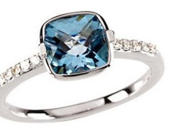 Blue Topaz and Diamond Ring| 14K White Gold| Right Hand Ring| Engagement Ring| December Birthstone