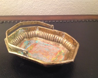 """Vintage Octagonal Brass Dish with Hinged Handle and Vert de Gris Patina  5.5"""""""