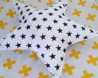 Star Pillow Black Stars on White