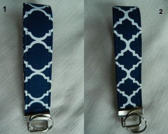Geometric Quatrefoil fabric , Key Fob, Key chain, Wristlet, Camera Strap