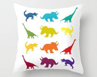"Dinosaur Throw Pillow, rainbow ""Dinosaur parade""  throw pillow, jurassic, cretaceous, dinosaur decor, cushion, cute,  bed, colorful, kids"