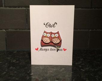 Anniversary Card, Love Card, Valentines Day Card, Owl Card, Animal Card