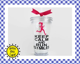 Keep Calm and Run 13.1 Miles Acrylic Tumbler, Keep Calm and Run 13.1 Miles acrylic cup, Marathon Runner Acrylic Cup, Half-Marathon Cup