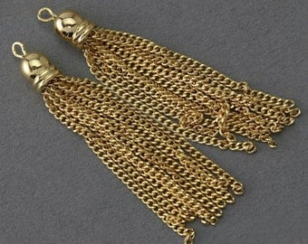 Gold Metal Tassel . Jewelry Craft Supply . 16K Polished Gold Plated over Brass Cap - 2 Pcs / GT010-PG-GD