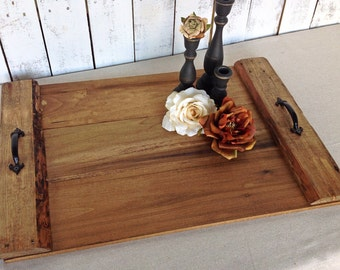 Serving tray - rustic wood tray - rustic home decor