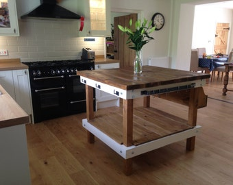 Handmade Rustic Farmhouse Butchers Block Style Kitchen Unit Large