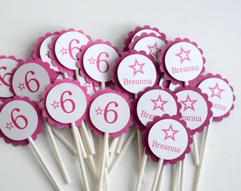 Birthday girl cupcake toppers, Doll party Cupcake Toppers, Star Party cupcake toppers
