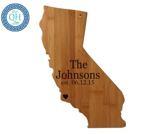 California State Shaped Cutting Board Personalized Wedding Housewarming New Home Moving Hostess Closing Gift