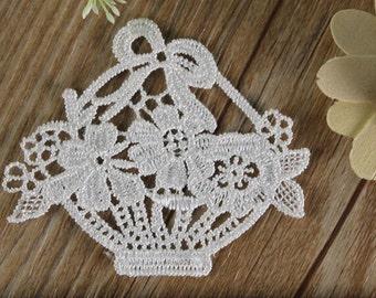 4pcs White Lace Venice Appliques Flower Basket Patches