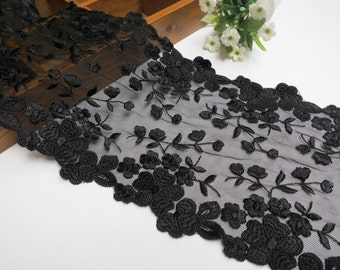 "1 yards Lace Trim Blacck Gauze Cotton Rose Leaf Embroidered Lace Fabric 6.1"" width"