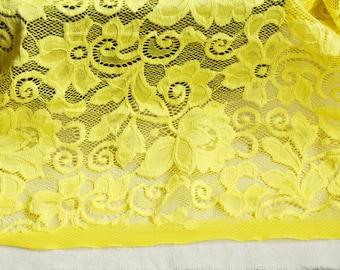 "Lace Fabric Yellow Embroidery Stretch Flower Wedding Fabric 59"" width 1 yard"