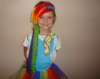 Rainbow Dash inspired wig headband, great for costumes and dress up!