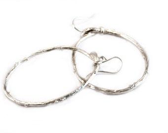 Twig Hoops in Sterling Silver