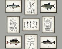 Fishing Wall Art Print Set of 9 - Angling Wall Art - Bream - Perch - Salmon - Trout - Fishing Art - Lure - Rod - Reel - Fisherman Gift Idea