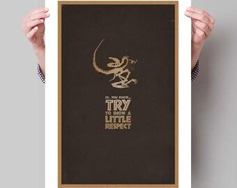 "JURASSIC PARK Inspired Raptor Fossil Minimalist Movie Poster Print - 13""x19"" (33x48 cm)"