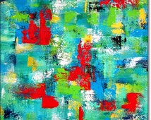Canvas Art Abstract Acrylic Painting ORIGINAL CONTEMPORARY ART Abstract Textured Turquoise Blue Green Yellow Red 24x24x1,5 (60cmx60cmx3,6cm)